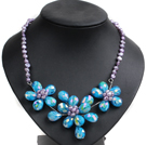 Gorgeous Party Style Natural Purple Freshwater Pearl Blue Crystal Flower Bib Necklace