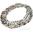 multi strand seven colored stone necklace with slide clasp