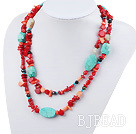 fashion long style turquoise and red coral necklace