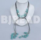 fashion long free style turquoise necklace