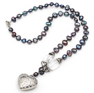black pearl crystal necklace with tibet silver heart accessories under $5