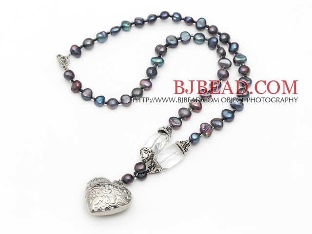 black pearl crystal necklace with tibet silver heart accessories