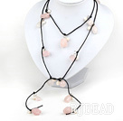 47 inches pearl and rose quartz long style necklace