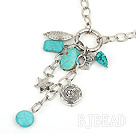 31.5 inches turquoise necklace with metal chain