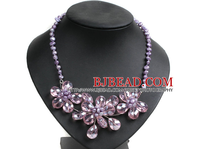 Gorgeous Party Style Natural Purple Freshwater Pearl Pink Crystal Flower Bib Necklace