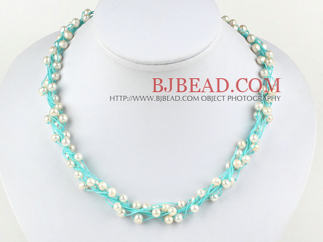 18 inches 4-5mm white pearl crystal with lobster clasp