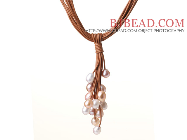 New Design Multi Strands 10-11mm Multi Color Freshwater Pearl Leather Necklace with Magnetic Clasp