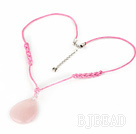 17.5 inches rose quartz pendant necklace with lobster clasp