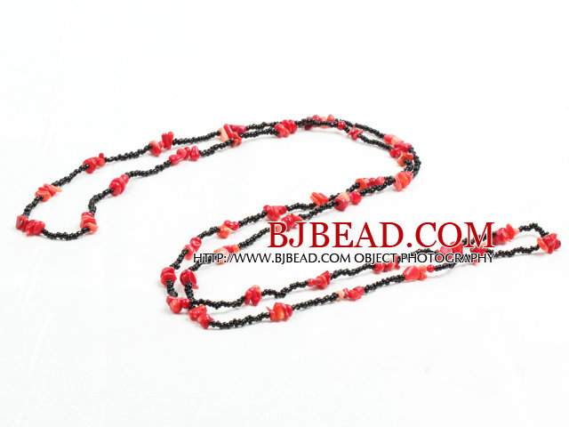Fashion Long Style Red Coral Chips Black Beads Necklace