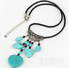 17.5 inches simple black agate and turquoise necklace with lobster clasp