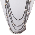 Multi Strands White Pearl and Gray Crystal Necklace under $ 40