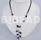 17.5 inches amethyst and white crystal necklace with lobster clasp