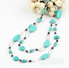 fashion long style black pearl turquoise necklace under $ 40