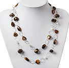 Lange Style Pearl en Tiger Eye Ketting met metalen Loop Chain