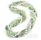 Multi Strands Natural Prehnite and White and Light Green Freshwater Pearl Necklace