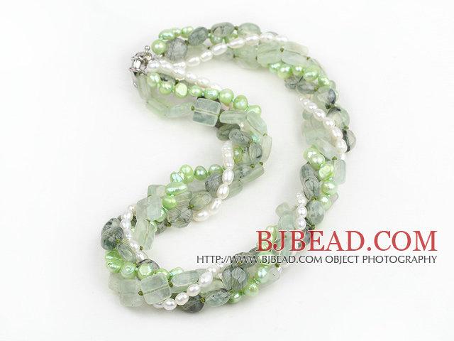 e4bab378471b Strands Multi Prehnite Natural y de agua dulce blanco y verde claro collar  de perlas