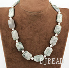 18 inches pearl and tianshan stone necklace with toggle clasp
