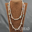 47 inches multi colored pearl logn style necklace