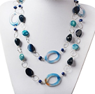Long Style Pearl and Blue Agate Necklace with Metal Loop Chain