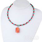 17.5 inches turquoise and red coral necklace with lobster clasp under $ 40