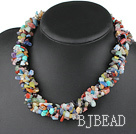 multi strand seven color stone necklace