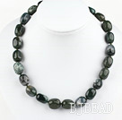 18 inches float grass agate necklace with moonlight clasp