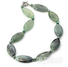 18 inches pearl and serpentine jade necklace with moonlight clasp