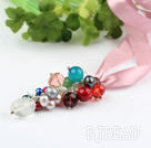 multi color multi stone and crystal necklace with pink ribbon
