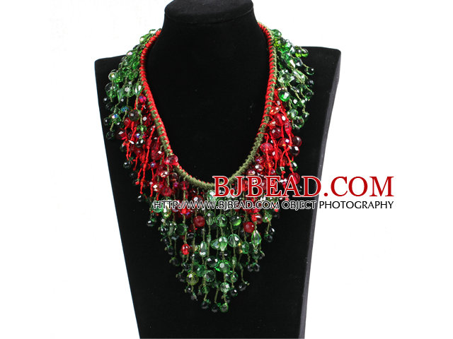 Luxurious Sparkly Red & Green Crystal Christmas Statement Tassel Hand-Knitted Necklace