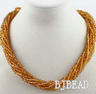 Multi Strands Amber Color Crystal Necklace with Magnetic Clasp