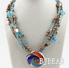 Multi Strand Blue Crystal and Brown Pearl with Colored Glaze Pendant Necklace