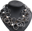 Speical Design Beautiful Natural White Pearl Smoky Quartz Silver Gray Crystal Statement Chunky Necklace
