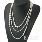Long Style White Round Freshwater Pearl Beaded Necklace