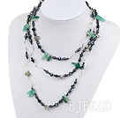Long Style Black Pearl Crystal and Green Agate Necklace