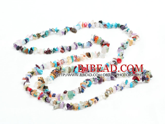 Fashion Long Style Multi Gemstone Chips Necklace