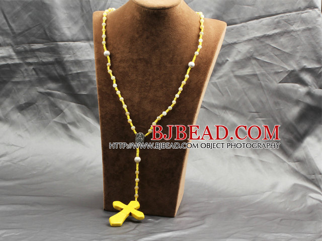 Classic Design Fashion Long Y Shape Yellow Frosted Banded Agate Necklace With Cross Shape Turquoise Pendant