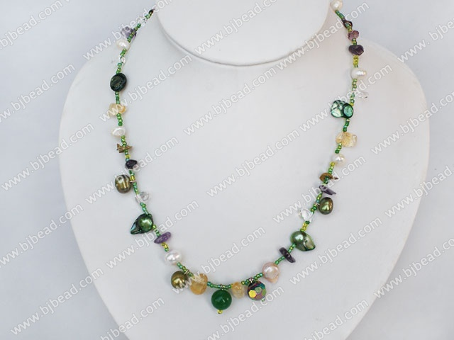 pearl crystal necklace with magnetic clasp