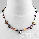 single strand multi color pearl crystal necklace with magnetic clasp
