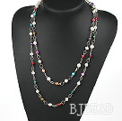 47 inches seven colored pearl long style necklace