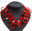 Speical Design Beautiful Natural White Pearl Smoky Quartz Red Crystal Statement Chunky Necklace