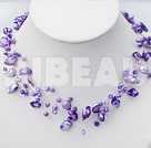 18 inches dyed purple pearl shell necklace with toggle clasp
