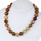 16mm round three color jade necklace with spring ring clasp