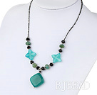 black crystal and blue jade necklace