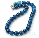 14mm blue agate beaded necklace with moonlight clasp under $ 40