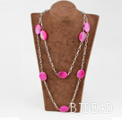 55 inches pink agate long necklace with metal chain