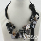 23.6 inches chunky black agate necklace with ribbon