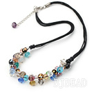 colorful crystal necklace with lobster clasp