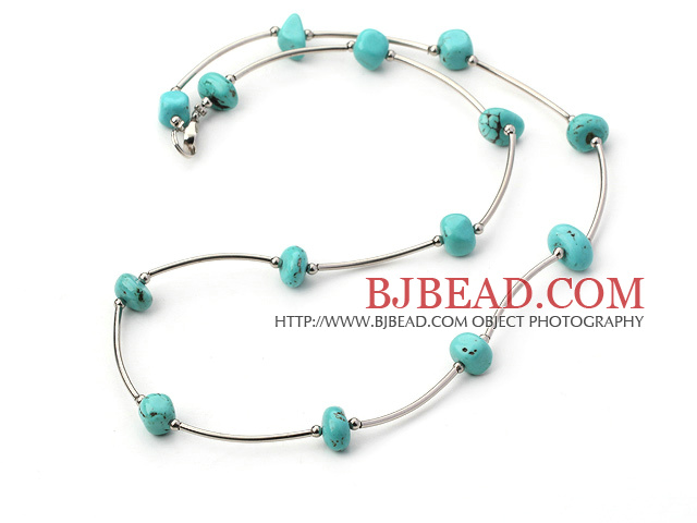 18 inches 6-12mm turquoise necklace with lobster clasp
