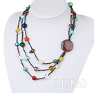 fashion long style agate and multi color stone necklace