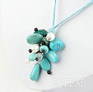 pearl crystal and turquoise necklace